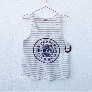 Junk Food Beatles Striped Graphic Band Tank Small